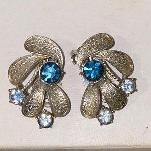 Ladies blue topaz clip on earrings